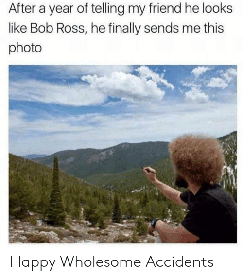 Bob Ross, Happy, and Wholesome: After a year of telling my friend he looks  like Bob Ross, he finally sends me this  photo Happy Wholesome Accidents