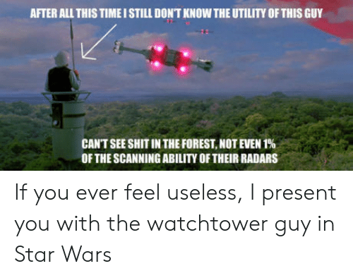 Shit, Star Wars, and Star: AFTER ALL THIS TIMEI STILL DONT KNOW THE UTILITY OF THIS GUY  CANT SEE SHIT IN THE FOREST, NOT EVEN 1%  OF THE SCANNING ABILITY OF THEIR RADARS If you ever feel useless, I present you with the watchtower guy in Star Wars