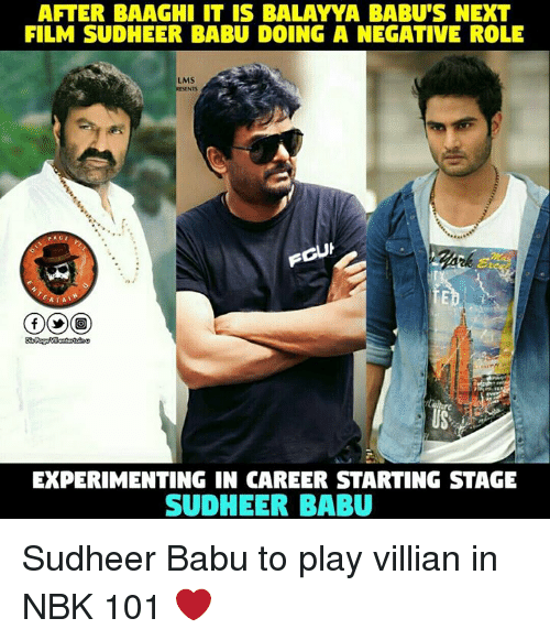 babu: AFTER BAAGHI IT IS BALAYYA BABU'S NEXT  FILM SUDHEER BABU DOING A NEGATIVE ROLE  LMS  EXPERIMENTING IN CAREER STARTING STAGE  SUD HEER BABU Sudheer Babu to play villian in NBK 101 ❤