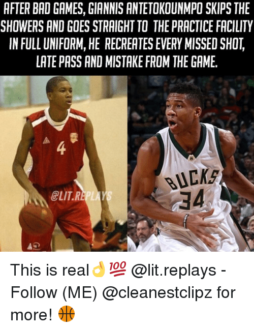 Elitism: AFTER BAD GAMES, GIANNIS ANTETOKOUNMPO SKIPS THE  SHOWERS AND GOES STRAIGHT TO THE PRACTICE FACILITY  IN FULL UNIFORM, HE RECREATES EVERY MISSED SHOT  LATE PASS AND MISTAKE FROM THEGAME  BUCKS  ELIT R This is real👌💯 @lit.replays - Follow (ME) @cleanestclipz for more! 🏀