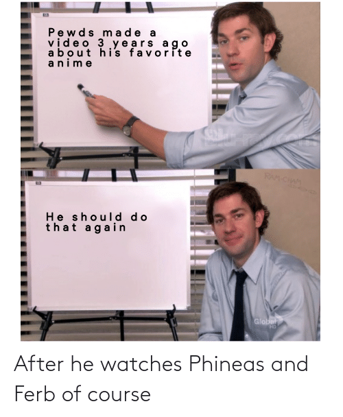 Watches: After he watches Phineas and Ferb of course