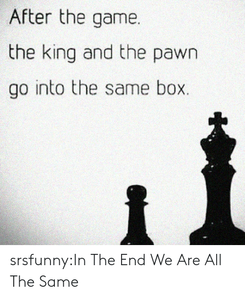 pawn: After the game.  the king and the pawn  go into the same box. srsfunny:In The End We Are All The Same