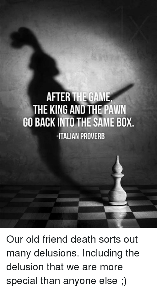 Delusion: AFTER THE GAME  THE KING ANDTHE PAWN  GO BACK INTO THE SAME BOX  ITALIAN PROVERB Our old friend death sorts out many delusions.  Including the delusion that we are more special than anyone else ;)