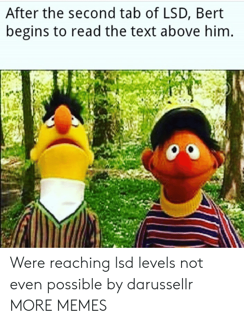 Dank, Memes, and Target: After the second tab of LSD, Bert  begins to read the text above him Were reaching lsd levels not even possible by darussellr MORE MEMES