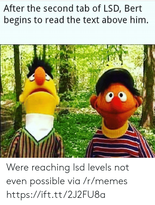 Memes, Texting, and Text: After the second tab of LSD, Bert  begins to read the text above him Were reaching lsd levels not even possible via /r/memes https://ift.tt/2J2FU8a