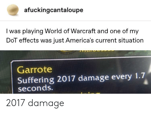 World Of: afuckingcantaloupe  I was playing World of Warcraft and one of my  DoT effects was just America's current situation  Garrote  Suffering 2017 damage every 1.7  seconds. 2017 damage