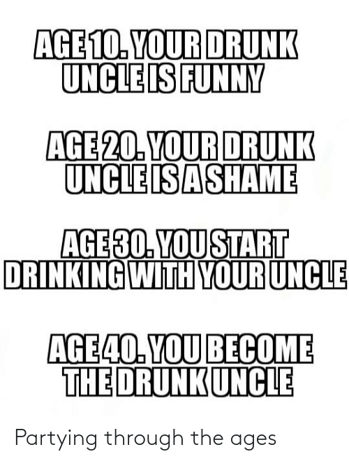 Your Drunk: AGE 10. YOUR DRUNK  UNCLE IS FUNNY  AGE 20. YOUR DRUNK  UNCLE ISASHAME  AGE30. YOU START  DRINKING WITH YOUR UNCLE  AGE40. YOU BECOME  THE DRUNKUNCLE Partying through the ages