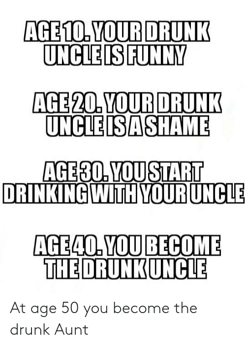 Your Drunk: AGE 10. YOUR DRUNK  UNCLE IS FUNNY  AGE 20. YOUR DRUNK  UNCLE ISASHAME  AGE30. YOU START  DRINKING WITH YOUR UNCLE  AGE40. YOU BECOME  THE DRUNKUNCLE At age 50 you become the drunk Aunt