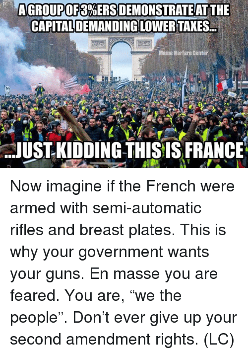 "Warfare: AGROUP OF 3%ERSDEMONSTRAT EAT THE  CAPITALDEMANDING LOWER TAXES.  Meme Warfare Center  JUST- KIDDING THISIS FRANCE Now imagine if the French were armed with semi-automatic rifles and breast plates. This is why your government wants your guns.  En masse you are feared.  You are, ""we the people"". Don't ever give up your second amendment rights.  (LC)"