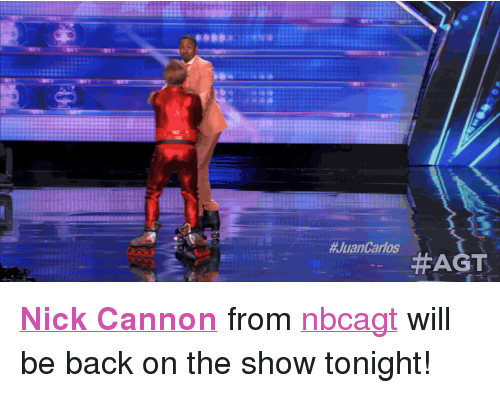 """nick cannon: <p><strong><a href=""""http://www.nbc.com/the-tonight-show/filters/guests/9376"""" target=""""_blank"""">Nick Cannon</a></strong>from <a class=""""tumblelog"""" href=""""http://tmblr.co/m2LPphypXjIR-l2hsEjPTwA"""" target=""""_blank"""">nbcagt</a>will be back on the show tonight!</p>"""