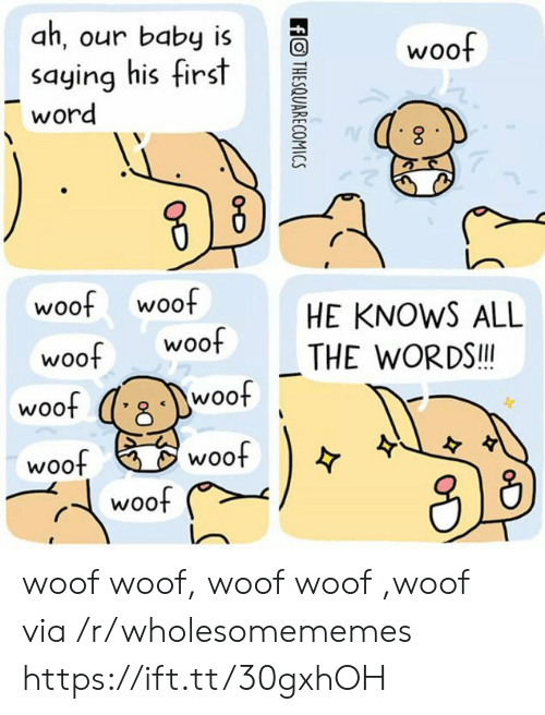 Word, Baby, and Via: ah, our baby is  woof  saying his first  word  woof woof  woof  HE KNOWS ALL  woof  THE WORDS!!  woof  woof  woof  woof  woof  ffOTHESQUARECOMICS woof woof, woof woof ,woof via /r/wholesomememes https://ift.tt/30gxhOH