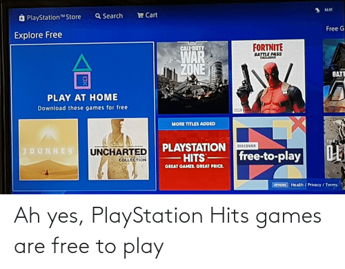 PlayStation: Ah yes, PlayStation Hits games are free to play