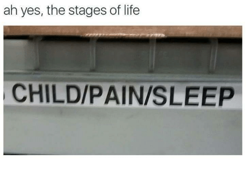 Life, Pain, and Sleep: ah yes, the stages of life  CHILD/PAIN/SLEEP