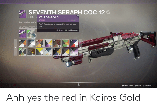 ahh: Ahh yes the red in Kairos Gold
