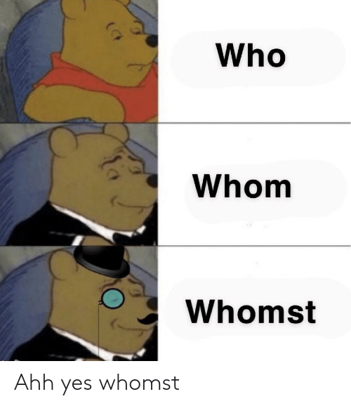 ahh: Ahh yes whomst