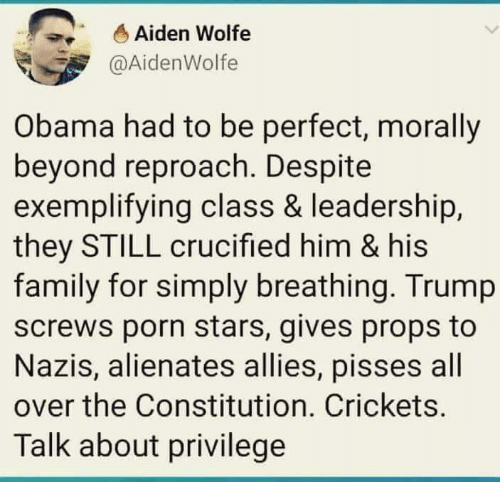 Crucified: Aiden Wolfe  @AidenWolfe  Obama had to be perfect, morally  beyond reproach. Despite  exemplifying class & leadership,  they STILL crucified him & his  family for simply breathing. Trump  screws porn stars, gives props to  Nazis, alienates allies, pisses all  over the Constitution. Crickets.  Talk about privilege