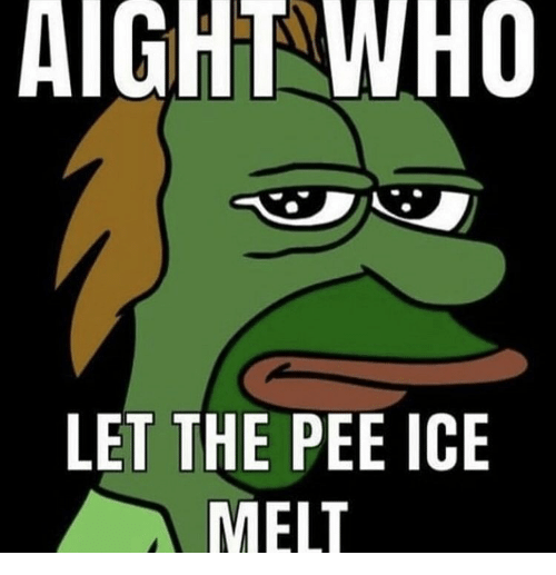 aight: AIGHT WHO  LET THE PEE ICE  MELT