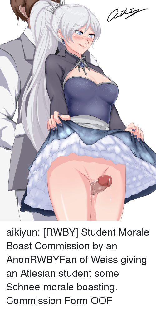 boast: aikiyun: [RWBY] Student Morale Boast Commission by an AnonRWBYFan of Weiss giving an Atlesian student some Schnee morale boasting. Commission Form  OOF