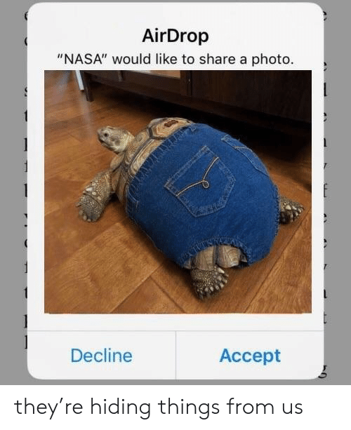 """Nasa, Photo, and Accept: AirDrop  """"NASA"""" would like to share a photo.  Decline  Accept they're hiding things from us"""