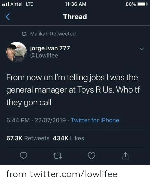 Jorge: . Airtel LTE  88%  11:36 AM  Thread  t Malikah Retweeted  jorge ivan 777  @Lowlifee  From now on I'm telling jobs I was the  general manager at Toys R Us. Who tf  they gon call  6:44 PM 22/07/2019 Twitter for iPhone  67.3K Retweets 434K Likes from twitter.com/lowlifee