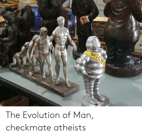 checkmate: AISED  MICH The Evolution of Man, checkmate atheists