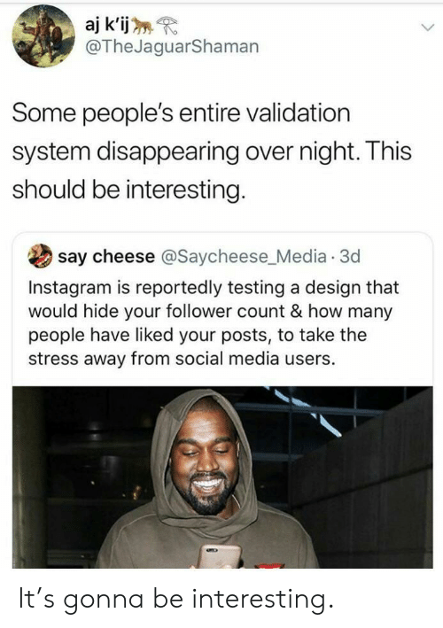 follower: aj k'ij  @TheJaguarShaman  Some people's entire validation  system disappearing over night. This  should be interesting.  say cheese @Saycheese_Media 3d  Instagram is reportedly testing a design that  would hide your follower count & how many  people have liked your posts, to take the  stress away from social media users. It's gonna be interesting.