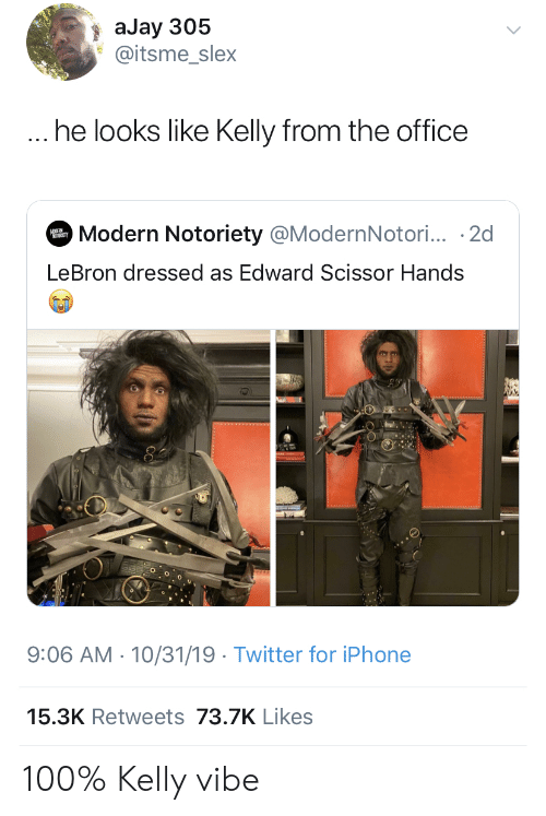 He Looks: aJay 305  @itsme_slex  ... he looks like Kelly from the office  Modern Notoriety @ModernNotori... 2d  MODER  LeBron dressed as Edward Scissor Hands  9:06 AM 10/31/19 Twitter for iPhone  15.3K Retweets 73.7K Likes 100% Kelly vibe