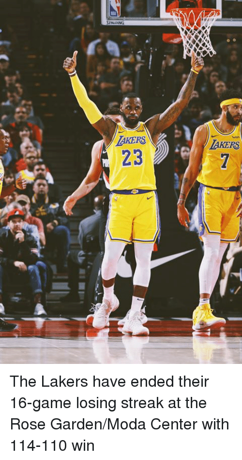 Andrew Bogut, Los Angeles Lakers, and Game: AKERS  23  AKERS The Lakers have ended their 16-game losing streak at the Rose Garden/Moda Center with 114-110 win
