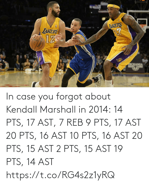 Akers: AKERS  LAKERS  12  ECHANGA  SLDING In case you forgot about Kendall Marshall in 2014:  14 PTS, 17 AST, 7 REB 9 PTS, 17 AST 20 PTS, 16 AST 10 PTS, 16 AST 20 PTS, 15 AST 2 PTS, 15 AST 19 PTS, 14 AST https://t.co/RG4s2z1yRQ