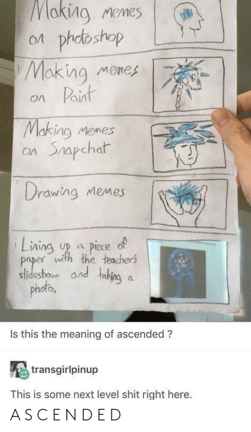 oto: aking Memes | (#  on phdoshop  Making memes  on Paint  Making memes  on Shapchat  Drawing Memes  Lning up piece of  paper with the teachers  sideshow and taking a  phob  oto  Is this the meaning of ascended ?  transgirlpinup  This is some next level shit right here. A S C E N D E D