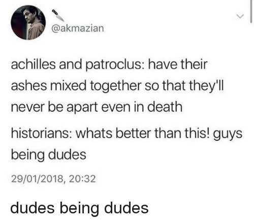 Historians: @akmazian  achilles and patroclus: have their  ashes mixed together so that they'll  never be apart even in death  historians: whats better than this! guys  being dudes  29/01/2018, 20:32 dudes being dudes