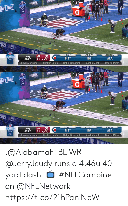Runs: .@AlabamaFTBL WR @JerryJeudy runs a 4.46u 40-yard dash!   📺: #NFLCombine on @NFLNetwork https://t.co/21hPanlNpW