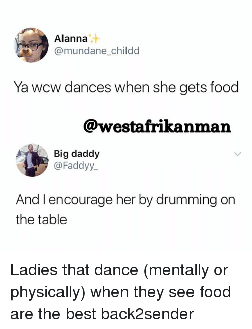 drumming: Alanna  @mundane childd  Ya wcw dances when she gets food  @westafrikanman  Big daddy  @Faddyy  And l encourage her by drumming on  the table Ladies that dance (mentally or physically) when they see food are the best back2sender