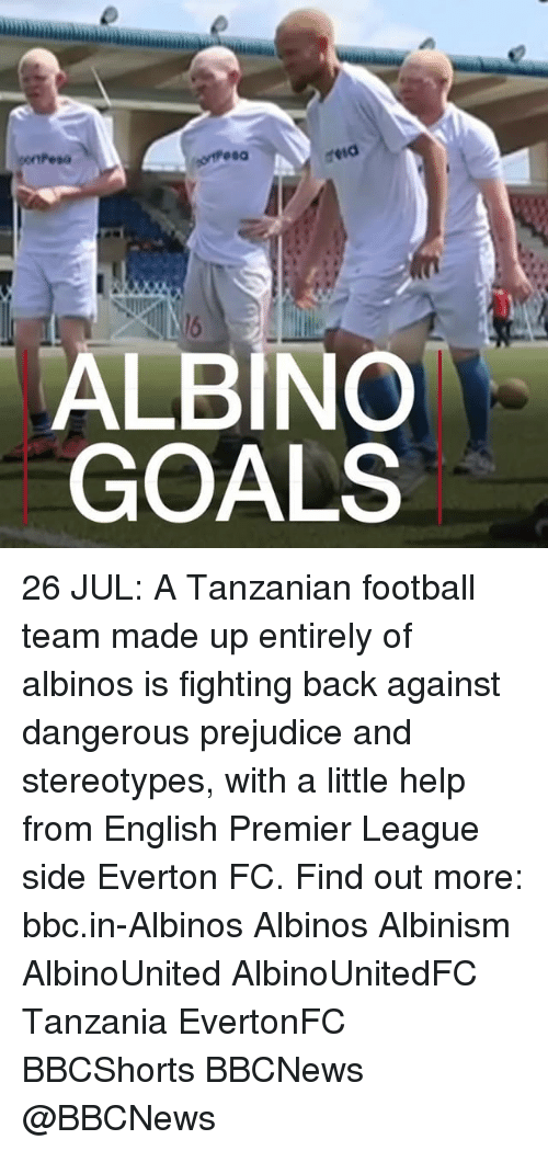 albinism: ALBINO  GOALS 26 JUL: A Tanzanian football team made up entirely of albinos is fighting back against dangerous prejudice and stereotypes, with a little help from English Premier League side Everton FC. Find out more: bbc.in-Albinos Albinos Albinism AlbinoUnited AlbinoUnitedFC Tanzania EvertonFC BBCShorts BBCNews @BBCNews