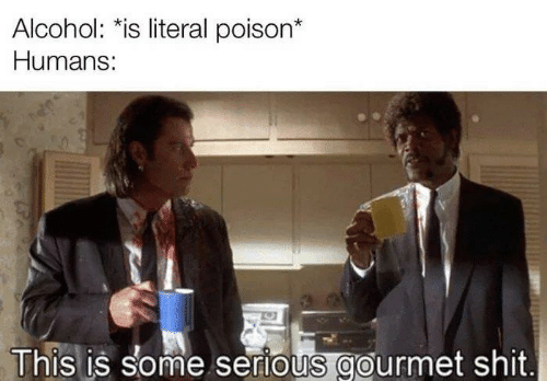 Memes, Shit, and Alcohol: Alcohol: *is literal poison*  Humans:  This is some serious gourmet shit.