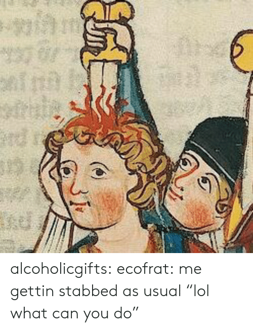 "Lol, Tumblr, and Blog: alcoholicgifts: ecofrat:  me gettin stabbed as usual  ""lol what can you do"""
