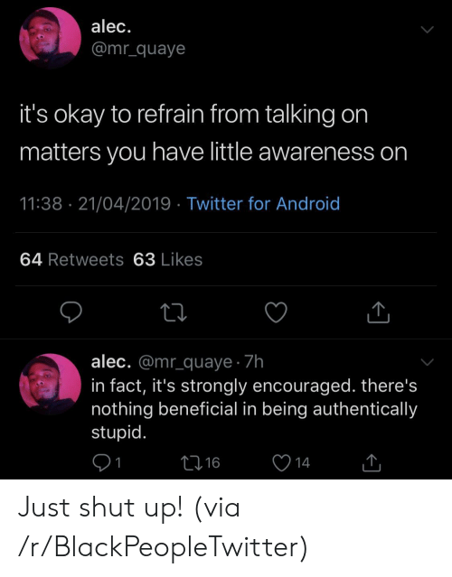 Strongly: alec.  @mr_quaye  it's okay to refrain from talking on  matters you have little awareness on  11:38 21/04/2019 Twitter for Android  64 Retweets 63 Likes  alec. @mr_quaye 7h  in fact, it's strongly encouraged. there's  nothing beneficial in being authentically  stupid.  L16  14 Just shut up! (via /r/BlackPeopleTwitter)