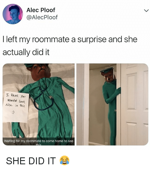 She Did It: Alec Ploof  @AlecPloof  I left my roommate a surprise and she  actually did it  エマhink you  Would look  Nite in ths  ice in ths  Waiting for my roommate to come home to see SHE DID IT 😂