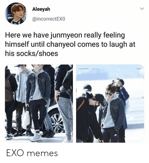 Chanyeol: Aleeyah  @incorrectEXO  Here we have junmyeon really feeling  himself until chanyeol comes to laugh at  his socks/shoes EXO memes