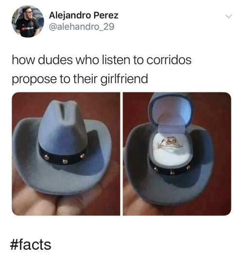 Perez: Alejandro Perez  @alehandro_29  how dudes who listen to corridos  propose to their girlfriend #facts