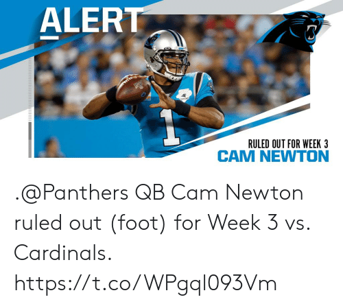 Cam Newton, Memes, and Cardinals: ALERT  THO  SEASON  RULED OUT FOR WEEK 3 .@Panthers QB Cam Newton ruled out (foot) for Week 3 vs. Cardinals. https://t.co/WPgql093Vm