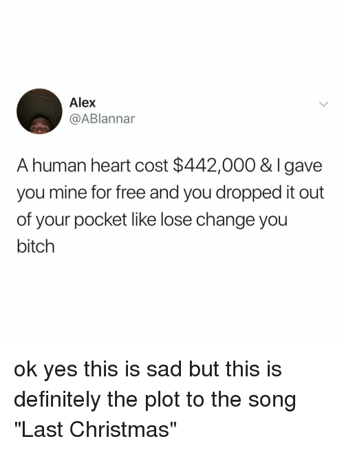 "Bitch, Christmas, and Definitely: Alex  @ABlannar  A human heart cost $442,000 & Igave  you mine for free and you dropped it out  of your pocket like lose change you  bitch ok yes this is sad but this is definitely the plot to the song ""Last Christmas"""