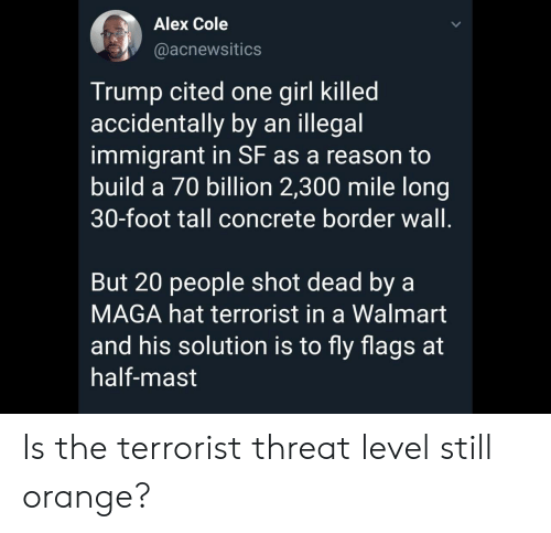 Illegal Immigrant: Alex Cole  @acnewsitics  Trump cited one girl killed  accidentally by an illegal  immigrant in SF as a reason to  build a 70 billion 2,300 mile long|  30-foot tall concrete border wall.  But 20 people shot dead by a  MAGA hat terrorist in a Walmart  and his solution is to fly flags at  half-mast Is the terrorist threat level still orange?