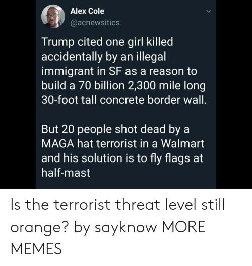 Illegal Immigrant: Alex Cole  @acnewsitics  Trump cited one girl killed  accidentally by an illegal  immigrant in SF as a reason to  build a 70 billion 2,300 mile long  30-foot tall concrete border wall.  But 20 people shot dead by a  MAGA hat terrorist in a Walmart  and his solution is to fly flags at  half-mast Is the terrorist threat level still orange? by sayknow MORE MEMES