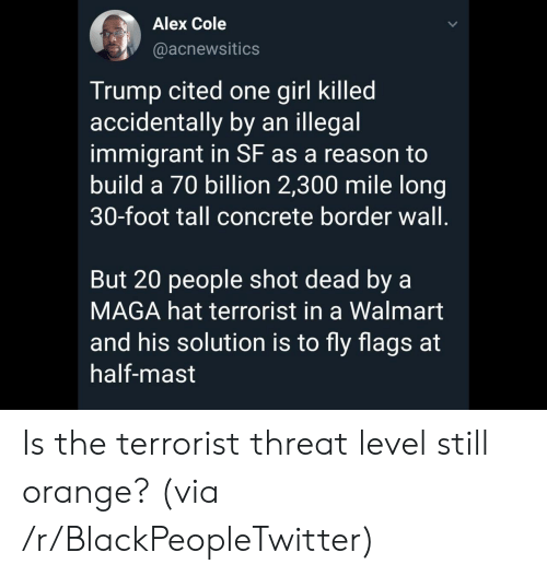 Illegal Immigrant: Alex Cole  @acnewsitics  Trump cited one girl killed  accidentally by an illegal  immigrant in SF as a reason to  build a 70 billion 2,300 mile long  30-foot tall concrete border wall.  But 20 people shot dead by a  MAGA hat terrorist in a Walmart  and his solution is to fly flags at  half-mast Is the terrorist threat level still orange? (via /r/BlackPeopleTwitter)