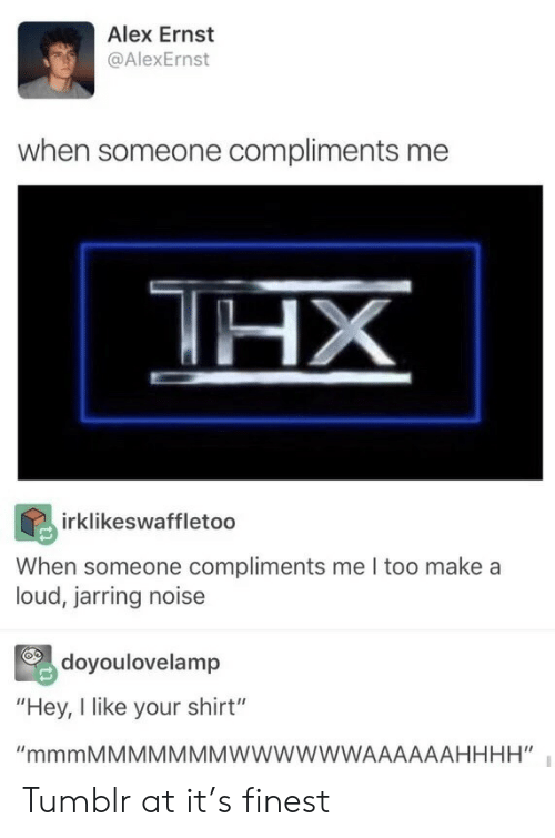 "Someone Compliments: Alex Ernst  @AlexErnst  when someone compliments me  HX  irklikeswaffletoo  When someone compliments me I too make a  loud, jarring noise  doyoulovelamp  ""Hey, I like your shirt""  ""mmmMMMMMMMWWWWWWAAAAAAHHHH"" Tumblr at it's finest"