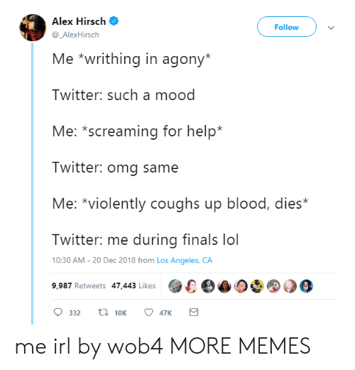 Alex Hirsch: Alex Hirsch  Follow  @_AlexHirsch  Me *writhing in agony*  Twitter: such a mood  Me: *screaming for help*  Twitter: omg same  Me: *violently coughs up blood, dies*  Twitter: me during finals lol  10:30 AM -20 Dec 2018 from Los Angeles, CA  9,987 Retweets 47.443 Likes00 me irl by wob4 MORE MEMES