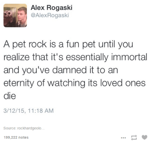 pet rock: Alex Rogaski  @Alex Rogask  A pet rock is a fun pet until you  realize that it's essentially immortal  and you've damned it to an  eternity of watching its loved ones  die  3/12/15, 11:18 AM  Source: rockhardgeolo...  199,222 notes