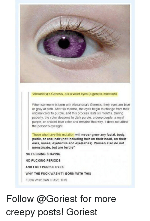 """Analed: Alexandia's Genesis, a k a violet eyes (a cenetic mutation)  When someone is born with Alexandna's Genesis, their eyes are blue  or gray at birth. After six months, the eyes begin to change from their  original color to purple, and this process lasts six months. During  puberty, the color deepens to dark purple, a deep purple, a royal  purple, or a violet-blue color and remains that way It does not affect  the person's eyesight.  Those who have this mutation will never grow any facial, body,  pubic, or anal hair (not including hair on their head, on their  ears, noses, eyebrows and eyelashes) Women also do not  menstruate, but are fertile""""  NO FUCKING SHAVING  NO FUCKING PERIODS  AND I GET PURPLE EYES  WHY THE FUCK WASN'TI BORN WITH THIS  FUCK WHY CAN I HAVE THIS Follow @Goriest for more creepy posts! Goriest"""
