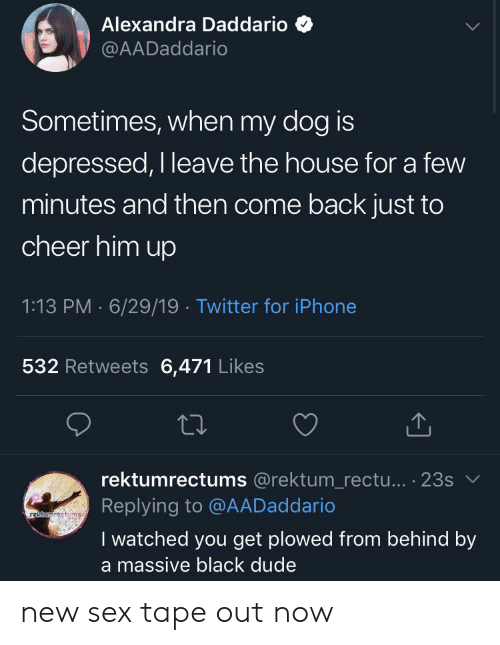 Dude, Iphone, and Reddit: Alexandra Daddario  @AADaddario  Sometimes, when my dog is  depressed, I leave the house for a few  minutes and then come back just to  cheer him up  1:13 PM 6/29/19 Twitter for iPhone  532 Retweets 6,471 Likes  rektumrectums @rektum_rectu... 23s  Replying to @AADaddario  rekamrectums  I watched you get plowed from behind by  a massive black dude new sex tape out now